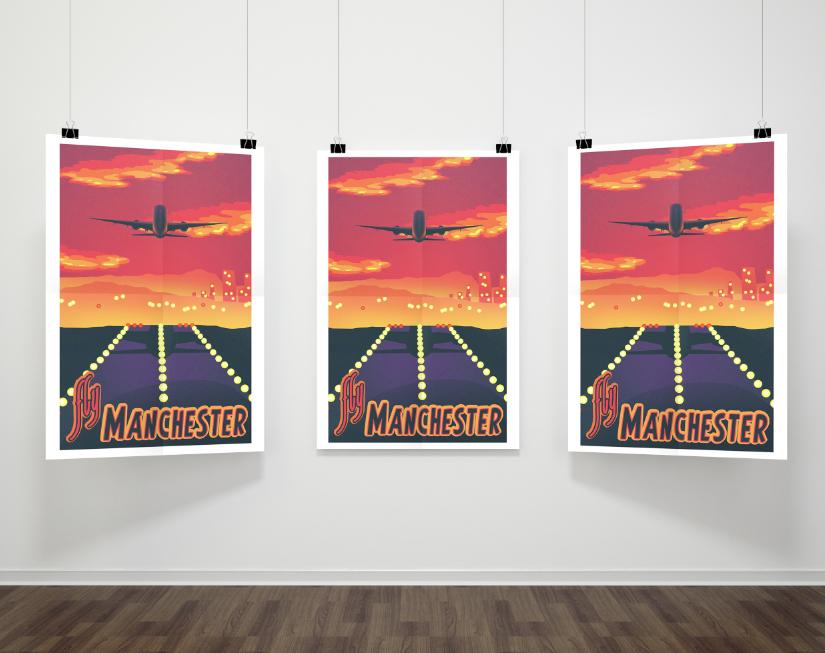 Manchester Airport Mockup Poster Design & Illustration