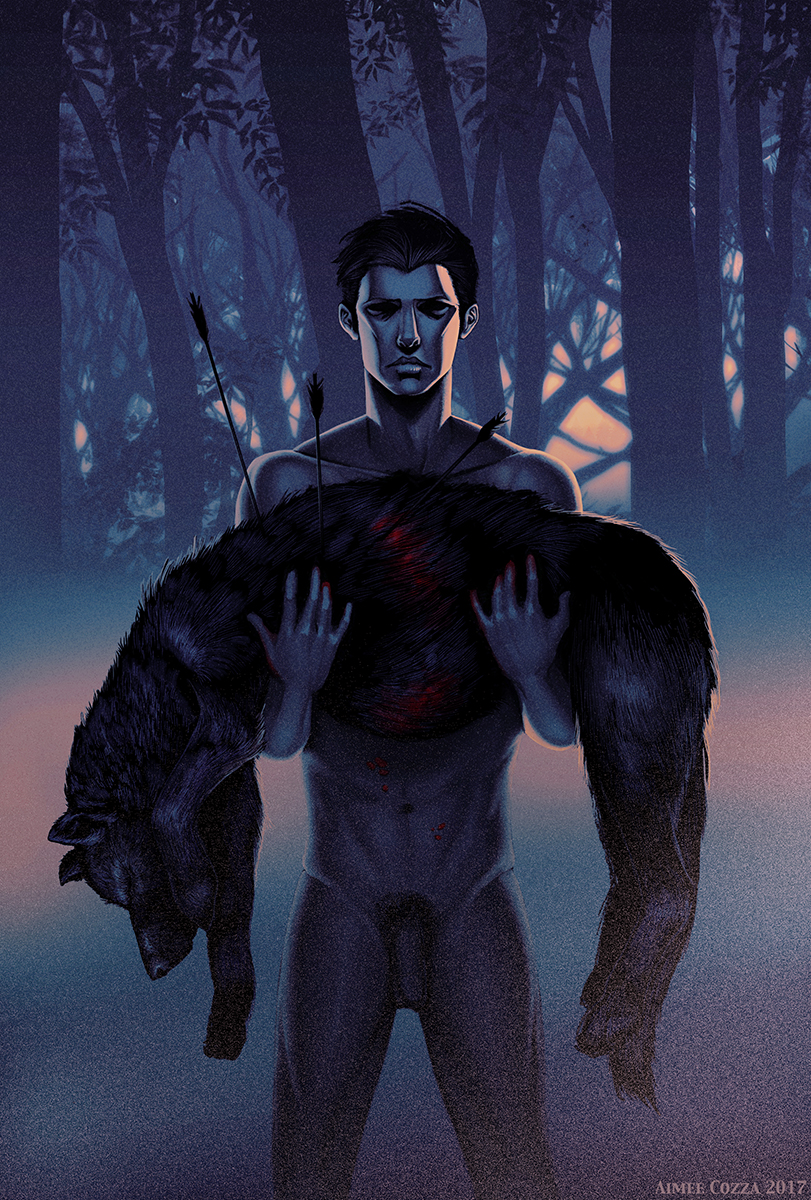 An illustration of a nude man standing in a foggy forest. He looks upset, and he is holding a limp, bloodied black wolf in his arms, riddled by arrows