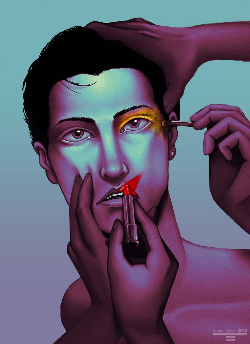 A colorful portrait of a man looking into the camera while various hands are applying makeup to his face. One hand is holding his cheek and chin firmly as another hand applies smeared red lipstick, while another hand grabs the top of his head, and yet another hand applies yellow eyeshadow messily