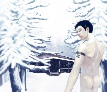 An illustration of a pale nude man walking forward in a cold, snowy landscape. He is looking back over his shoulder at someone whose hand he is holding. He is walking towards a cabin flanked by snow covered evergreen trees.