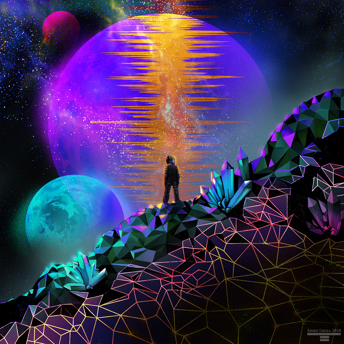 A colorful depiction of an astronaut standing along a sharp ridge on an alien world. Underfoot are various crystals of shapes and sizes. On the horizon are three moons. The largest moon is dead center, framing the astronaut.