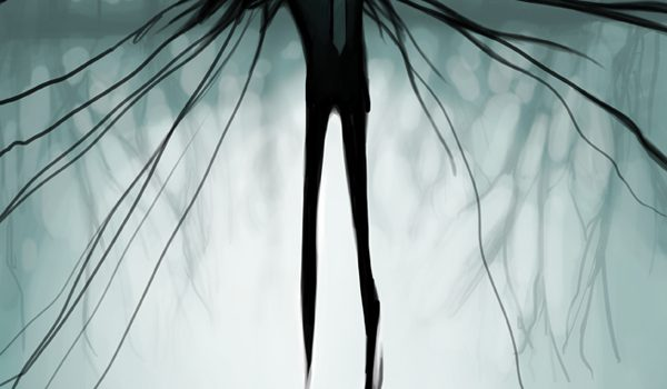 A picture of a spooky black shadow creature that loosely takes the form of a person. It has inky black tendril arms that extend in all directions, and white glowing eyes. It is wearing a tie.