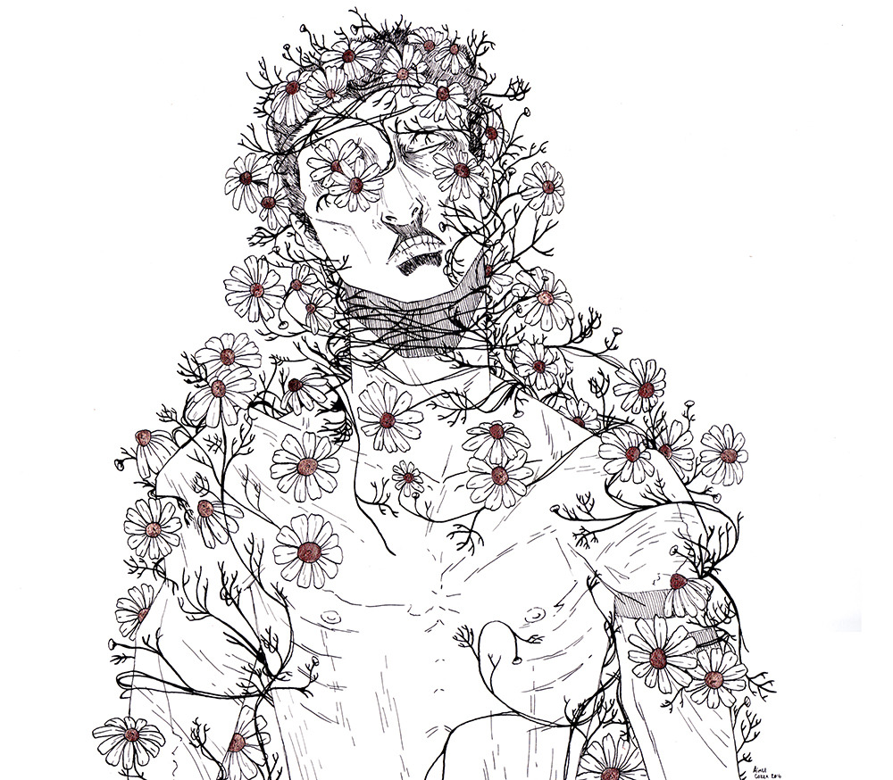 A black and white lineart illustration of a skinny, malnourished looking man with sunken eyes being overtaken by viney white petaled chamomile blooms.