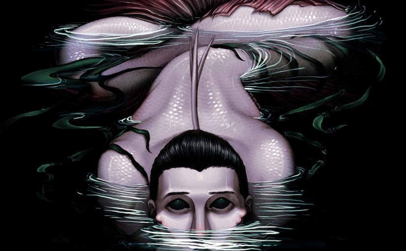 A pale pinkish wet slick-looking male fish creature sits half in and half out of dark, murky water. The fish-man is looking up to the viewer with all black eyes as if he is helpless or needs help. He appears to be loosely covered in seaweed, but looks to have a long body and tail though much of it is hidden under the dark water, attempting to lure the viewer to assist him.