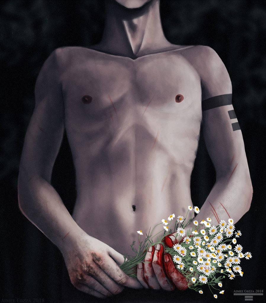 An illustration of a man's torso. The image begins at his chin but ends at his hips. He is nude. In his battered, dirty, and bloodied hands, he is holding a bouquet of stringy, brambly wild chamomile flowers with white petals. The stems of the flowers have red blood on them.