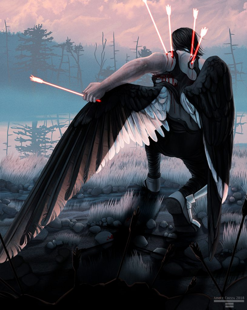 A man with large black and white wings is kneeling on the ground in front of a foggy body of water. He is pulling glowing reddish-white arrows from his wings and back. The foggy landscape is pink and blue. Pink light filters through the ends of his feathers. He is wearing a sleeveless shirt, pants, and metal armor on his legs and feet.