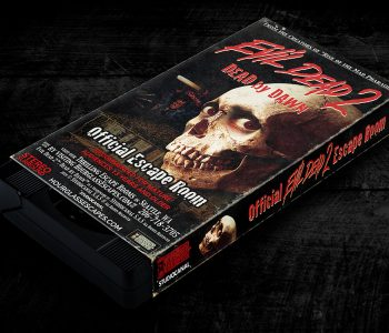 A mockup of a VHS tape with a fake Evil Dead 2™ promotional cover