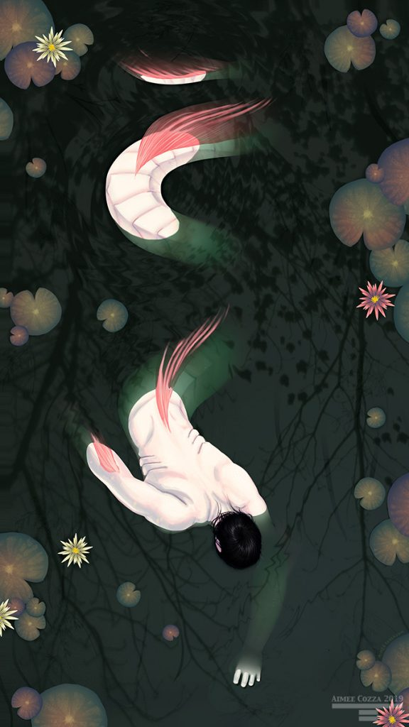 A pale serpent-like man creature slithering in and out of murky dark green water. There are lily pads and lilies dotting along the surface of the water. The sky is reflected on the surface of the water.