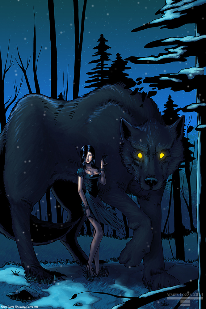 A dark nighttime setting of a woman in a torn dress with broken shackles standing beside a giant wolf with yellow luminous eyes.