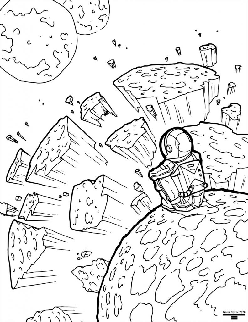 Black and white lineart of an astronaut sitting on a planet while another planet explodes in the background