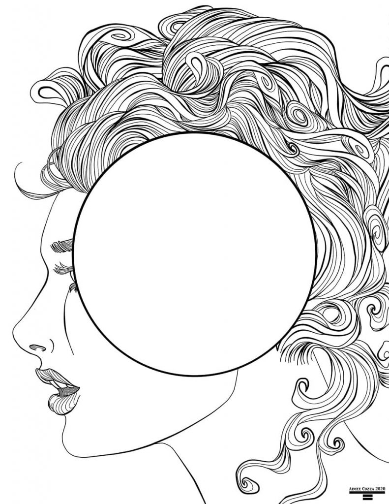 Black and white lineart of a profile of a woman with curly hair