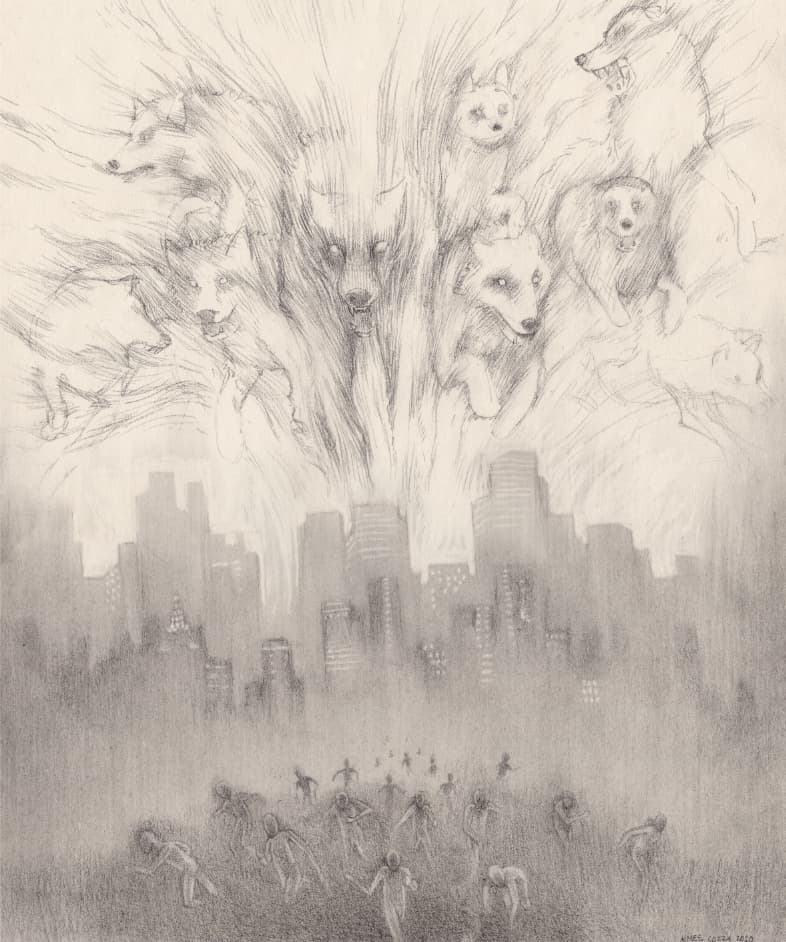 """The Wolves Descend"" original pencil drawing - WIP"